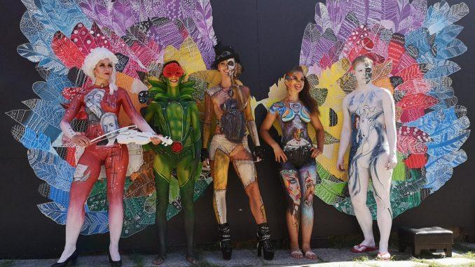 Bodypainting Modelle beim Thüringentag 2019 in Sömmerda